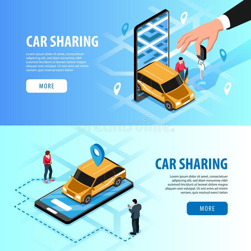 Car Sharing Isometric Banners vector illustration