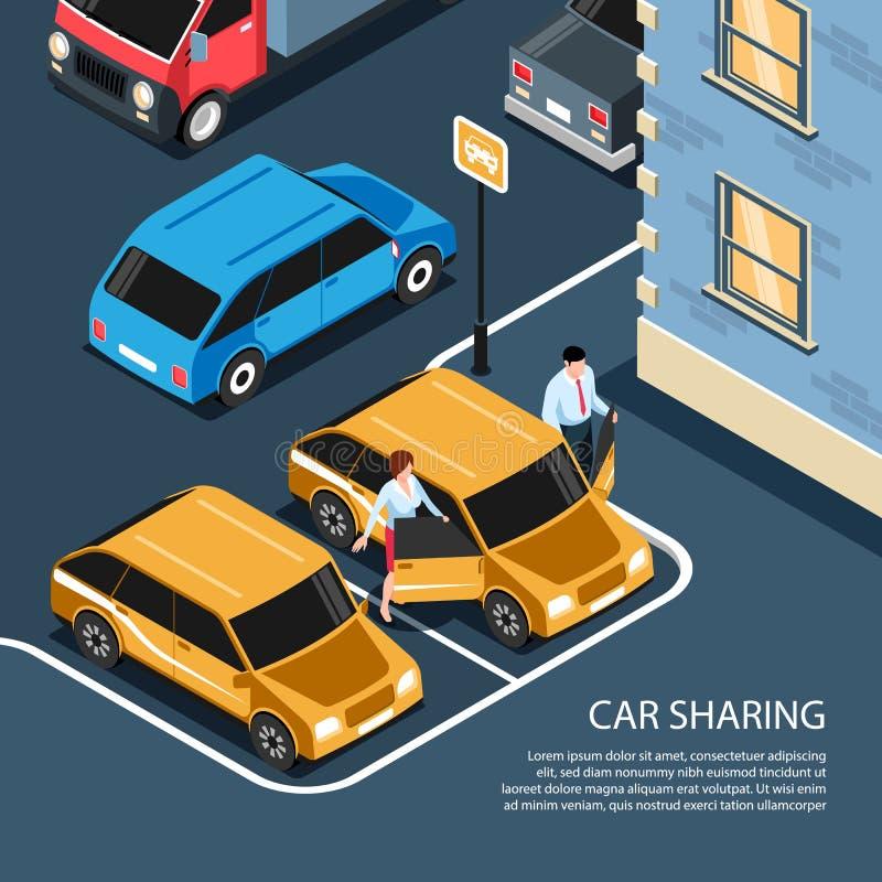 Car Sharing Isometric Composition stock illustration