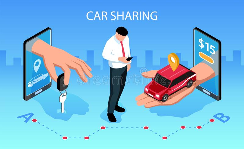 Car Sharing Isometric Composition. Car sharing horizontal isometric composition with mobile smartphone apps handing over vehicle key to customer vector vector illustration