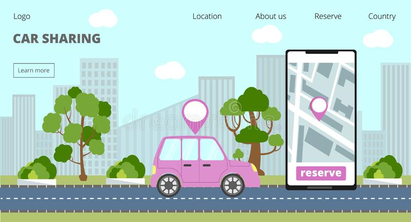Car sharing landing page and online rent service advertising web page stock illustration