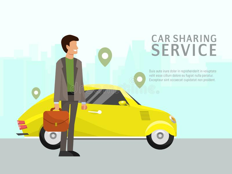Car sharing landing page online transportation concept vector illustration. People use website to order online. Transportation car based on GPS. Flat style man royalty free illustration