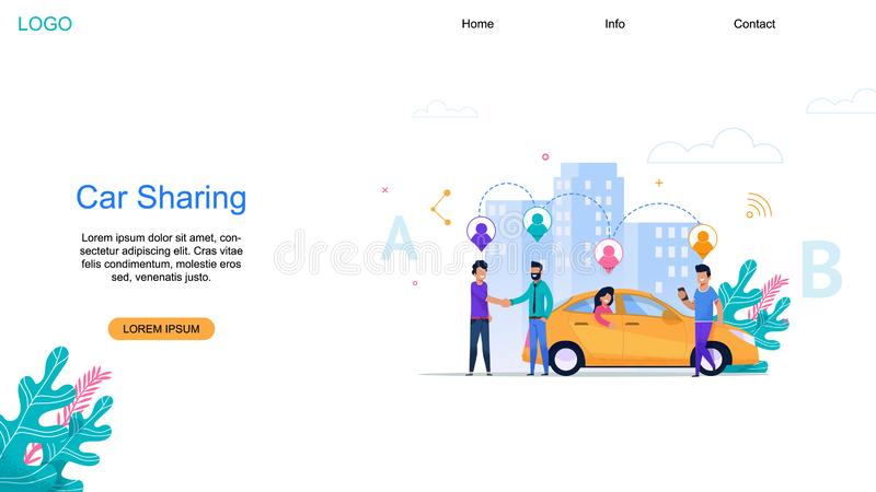 Car Sharing landing Page. Taxi Automobile Network. stock illustration