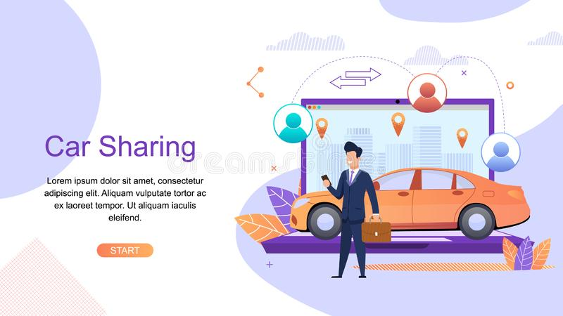 Car Sharing. Man Business Suit Order Urban Taxi. Car Rental from Specialized Companies for intra City or short Trips. Shared Economy Development Trend. Free stock illustration