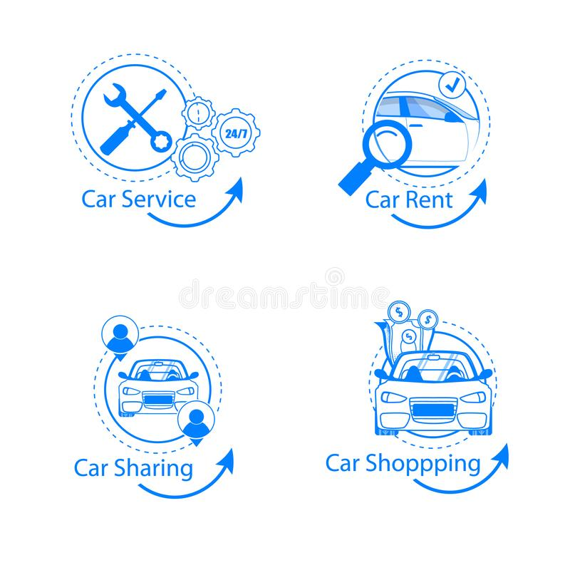 Car Sharing, Rent, Shopping, Service Flat Icon Set. Simple and Clean Round Line Infographic for Professional Vehicle Diagnostics Station. Repair, Shop, Money vector illustration