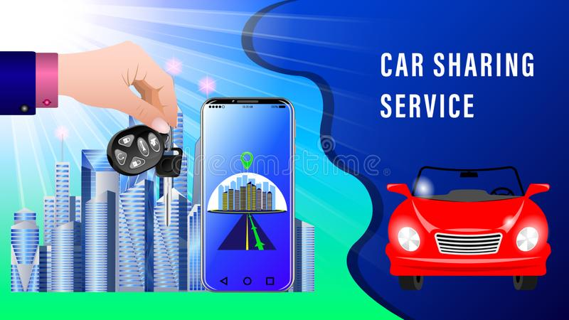 Car Sharing Service. Hand delivers keys with electronic keychain. Red convertible, front view. Smartphone showing the route.  City skyscrapers under the stock illustration