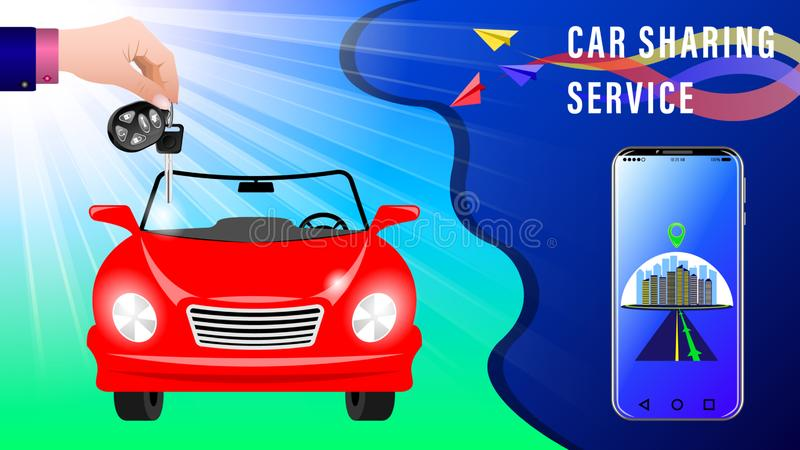 Car Sharing Service. Hand delivers keys with electronic keychain. Red convertible under the sunlight, front view. Smartphone showing the route. Colorful paper royalty free illustration