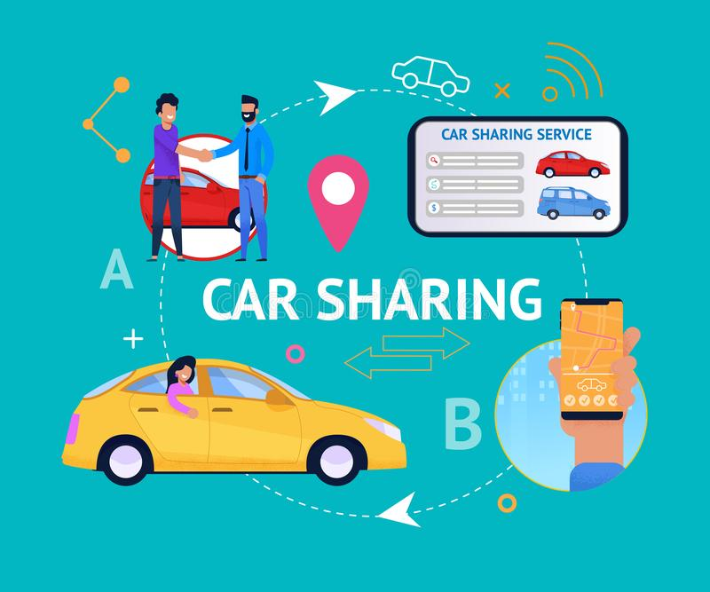 Car Sharing Service Cycle. Vector Infographics. Young People Connect Together for Travel. Search Transport on Tablet or Smartphone. Collaborative Vehicle Rent vector illustration