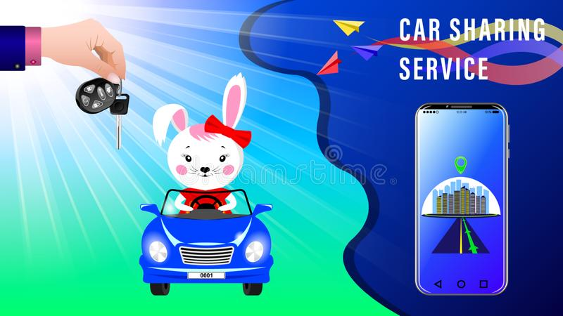 Car Sharing Service. Hand delivers keys with electronic keychain. Cartoon Bunny rides in a convertible under the sunlight, front view. Smartphone showing the stock illustration