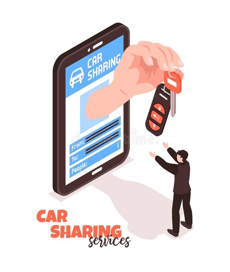 Car Sharing Isometric Concept stock illustration
