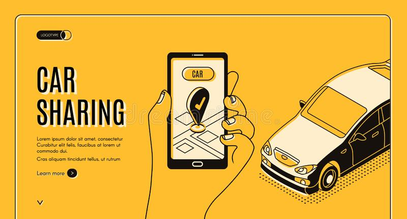 Car sharing service isometric landing page, app royalty free illustration