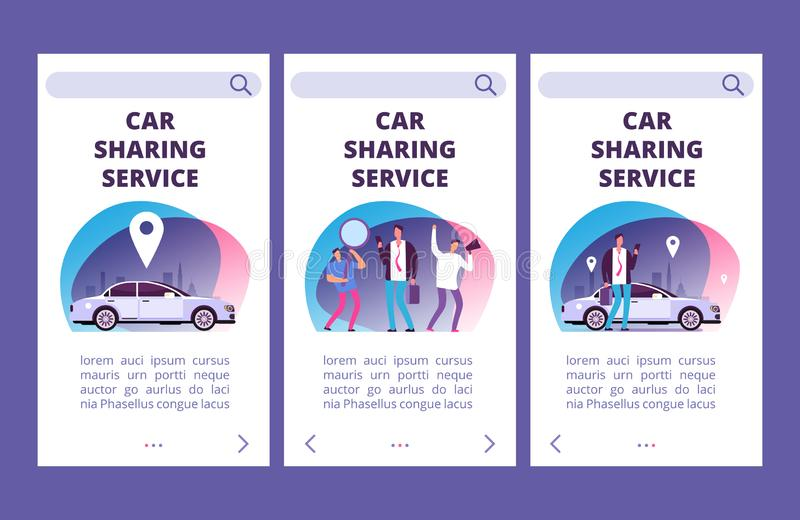Car sharing service mobile app pages vector template royalty free illustration