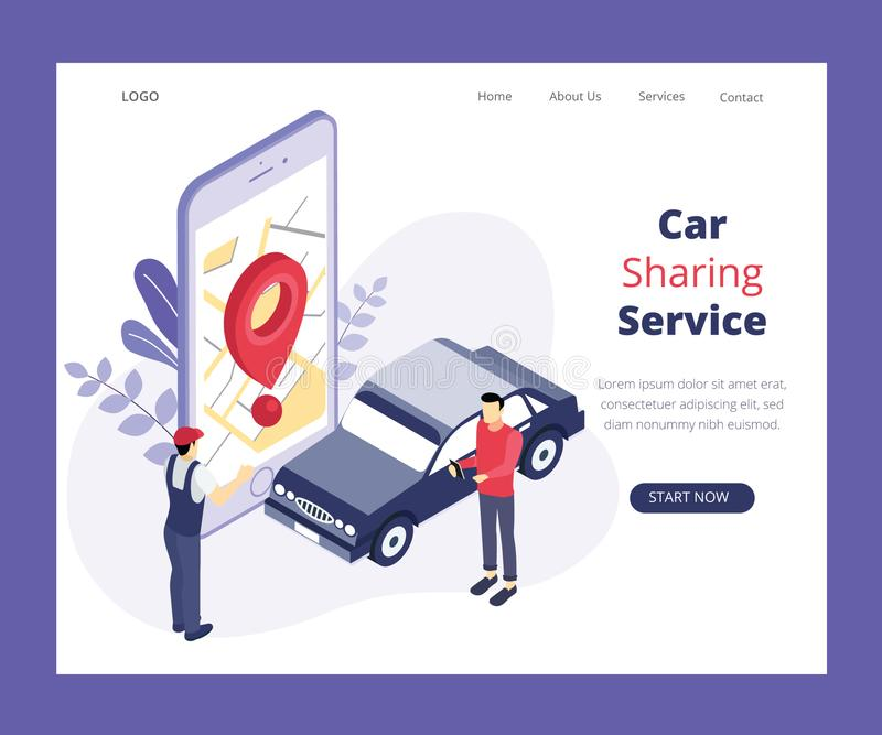 Car Sharing Service, Where 2 people are sharing a Car Isometric Artwork Concept stock illustration