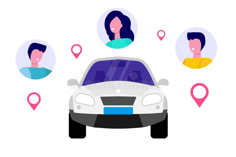 Car Sharing, Transport renting service concept. royalty free illustration