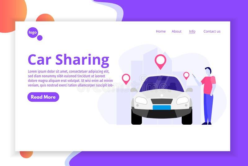 Car Sharing, Transport renting service concept. Web, landing page template. Vector illustration royalty free illustration