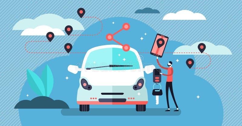 Car sharing vector illustration. Flat tiny persons concept with transport. Car sharing vector illustration. Flat tiny persons concept with transport service royalty free illustration