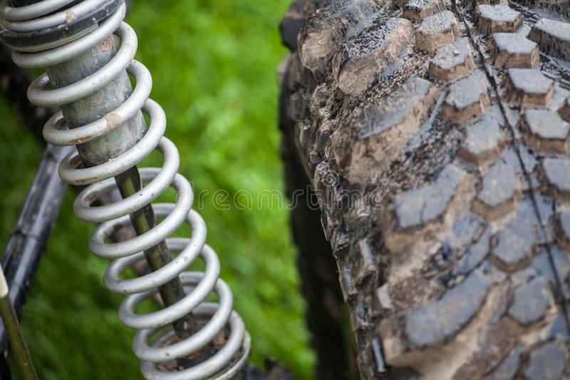 Car shock absorber. Close up shot of a car's shock absorber royalty free stock photos
