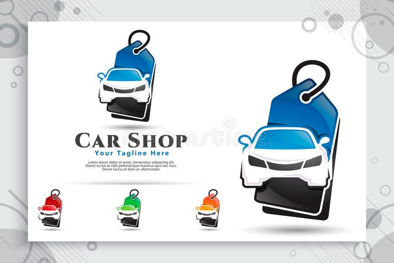 Car shop vector logo with modern concept designs, illustration of car and price tag as a symbol and icon of dealer car and digital. Template app online shop car stock illustration