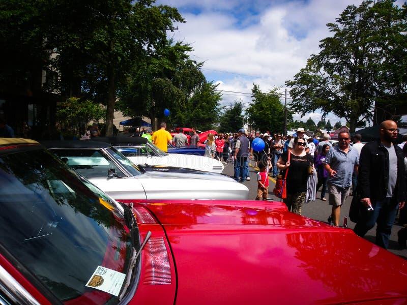 Car Show annuale del lago verde nell'area di Seattle immagini stock libere da diritti