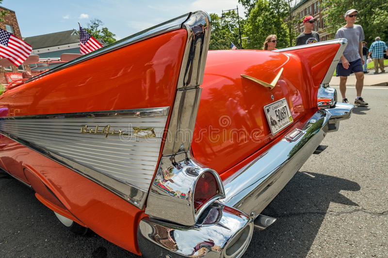 Car show classic car with tail fins stock photo