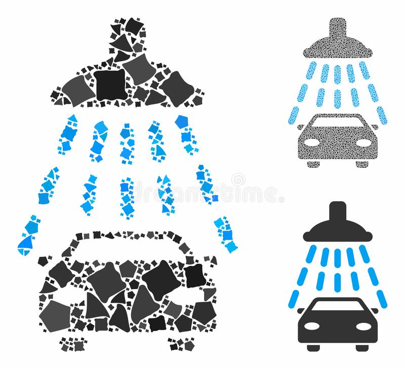 Car shower Composition Icon of Irregular Items. Car shower composition of ragged pieces in various sizes and color hues, based on car shower icon. Vector ragged royalty free illustration