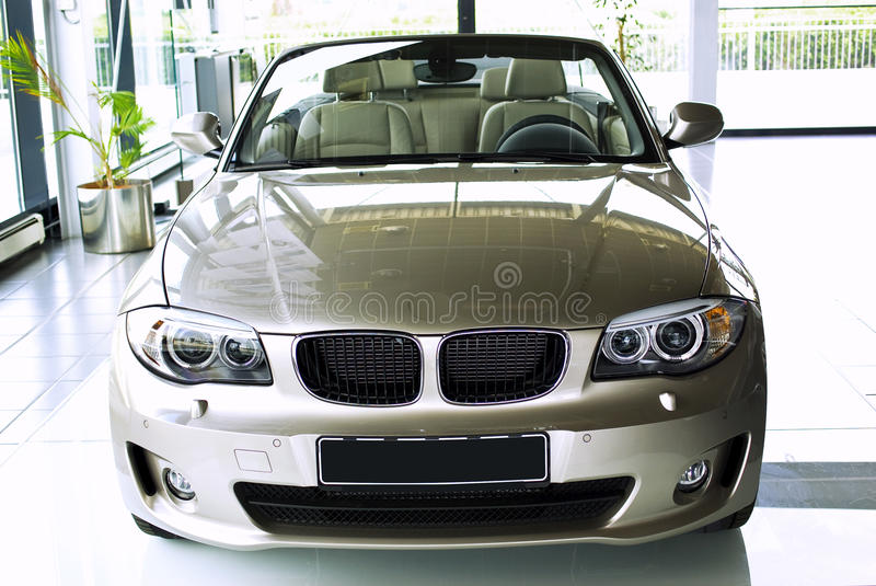 Car in showroom stock image