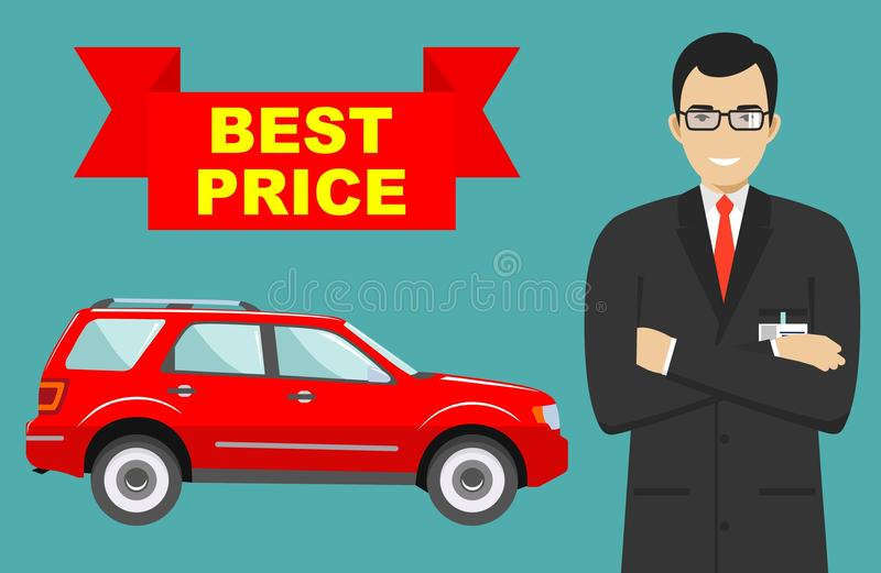 download car showroom big sale smiling manager sells new business class automobile detailed