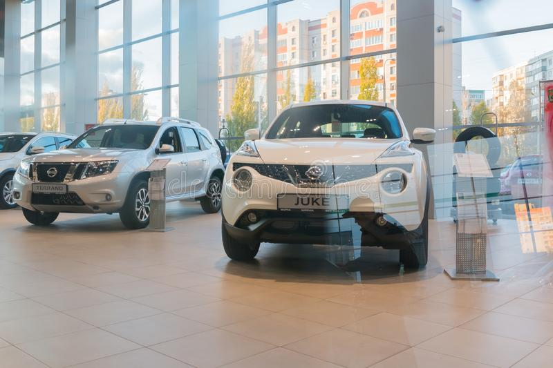 Car in showroom of dealership Nissan in Kazan city. Kazan, Russia - October 19, 2017: Car in the showroom of dealership Nissan in Kazan city royalty free stock photography