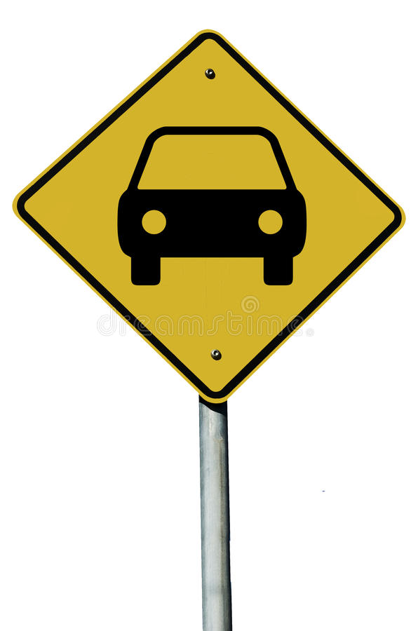Car Sign. Car or Automobile sign isolated on a plain white background royalty free stock image