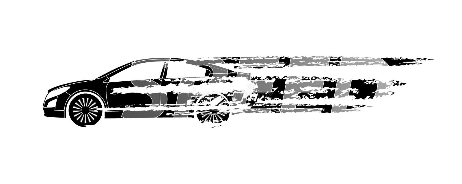 Car silhouette symbolizing the speed on a white background.Vecto royalty free illustration