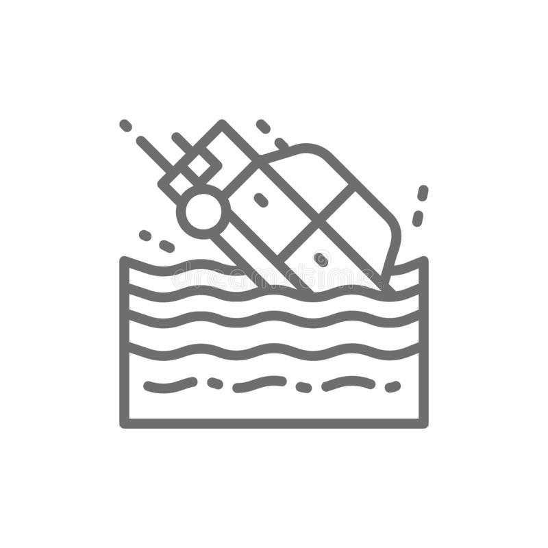 Car sinks in water line icon. stock illustration