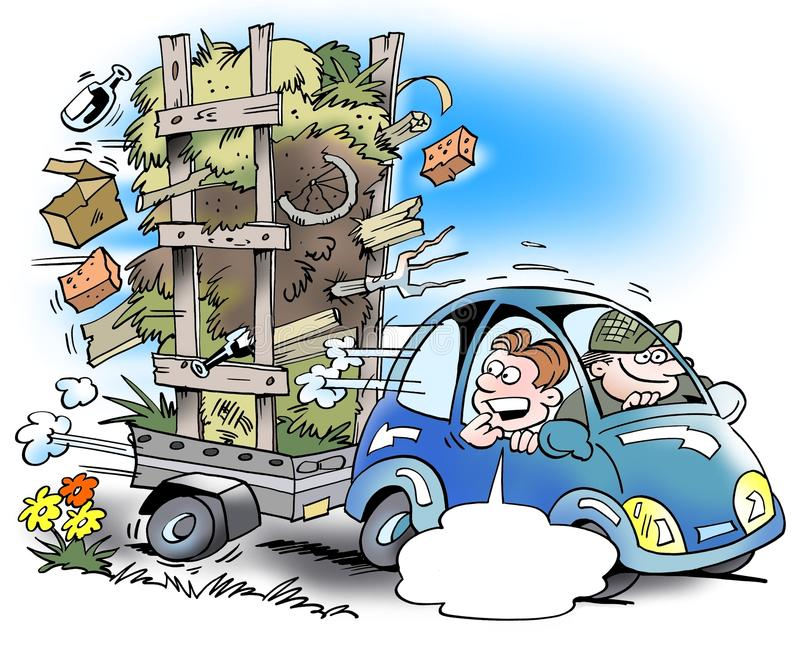 A car with a small trailer that is overloaded too much stock illustration
