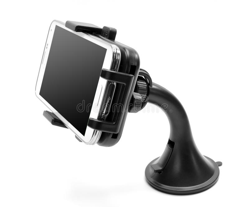 Car smartphone holder. The smartphone in the automobile holder stock photo