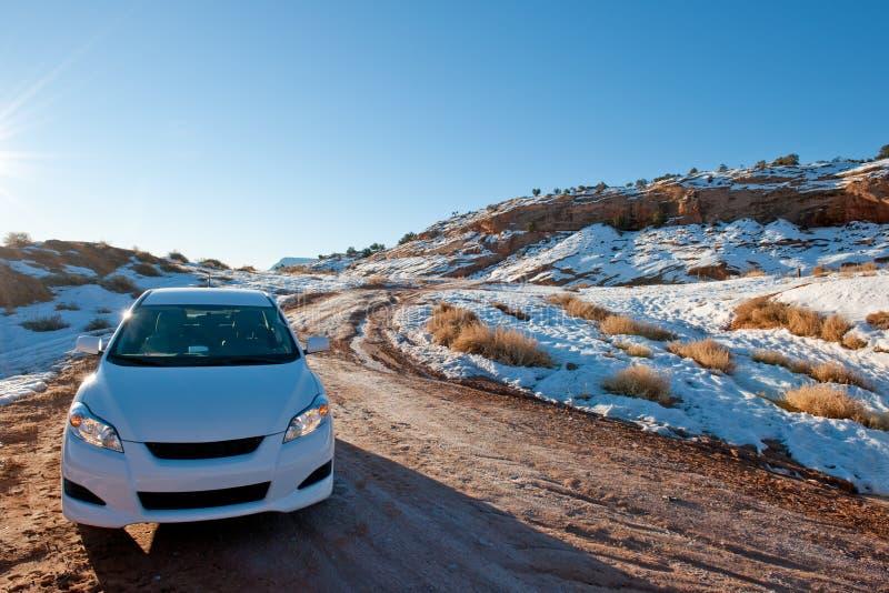 Car In Snowy Desert Stock Photos