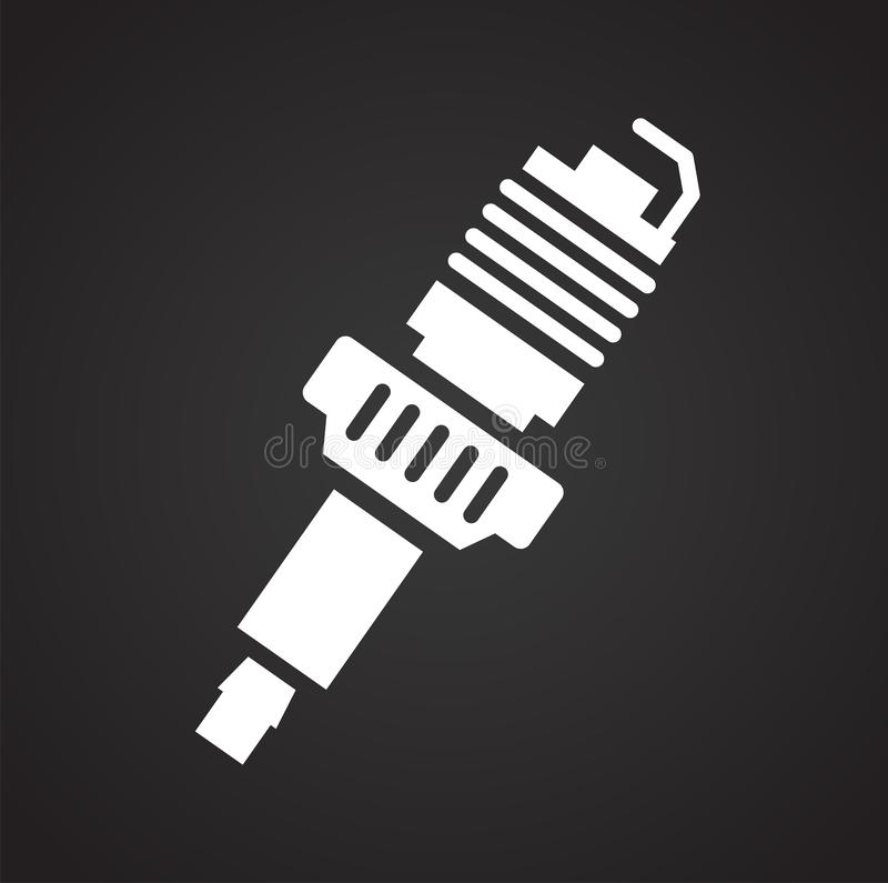 Car spark plug icon on black background for graphic and web design, Modern simple vector sign. Internet concept. Trendy symbol for. Website design web button or royalty free illustration
