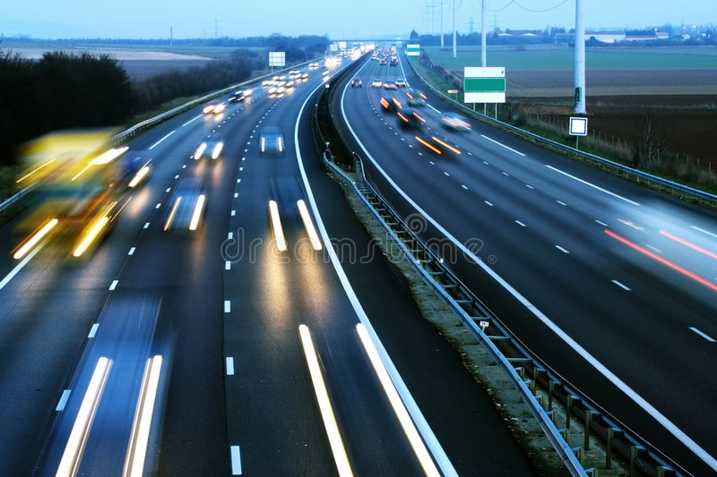 Car speed on the motorway stock images