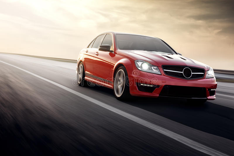 Fast Drive Red Sport Car Speed On The Road Mercedes Benz