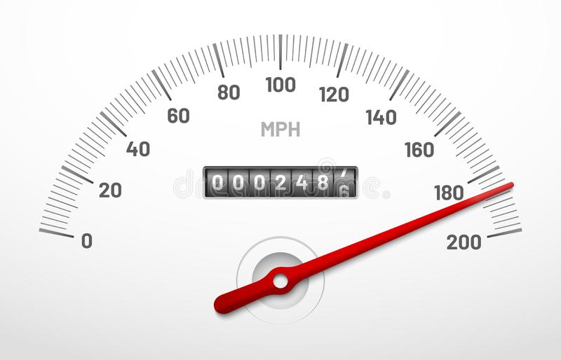 Car speedometer dashboard. Speed metre panel with odometer, miles counter and urgency dial isolated vector concept. Car speedometer dashboard. Speed metre panel royalty free illustration