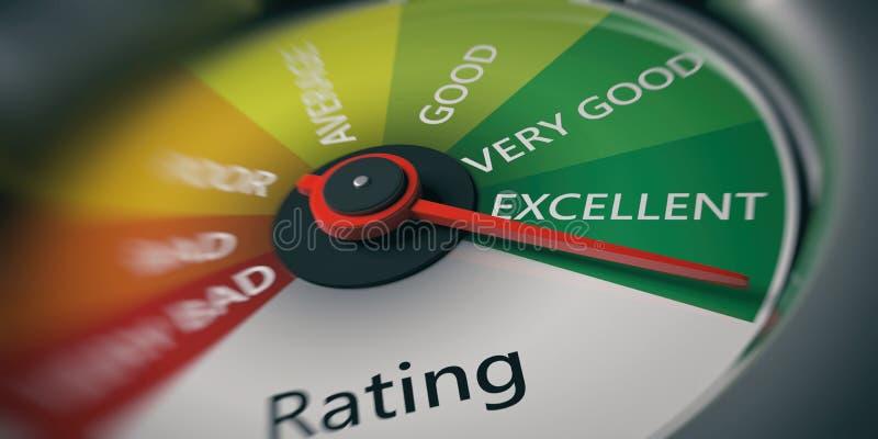Car speedometer, excellent rating close up. 3d illustrationn stock illustration