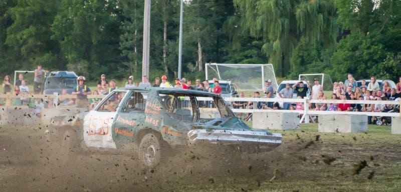 Demolition Derby Flying dirt stock photos