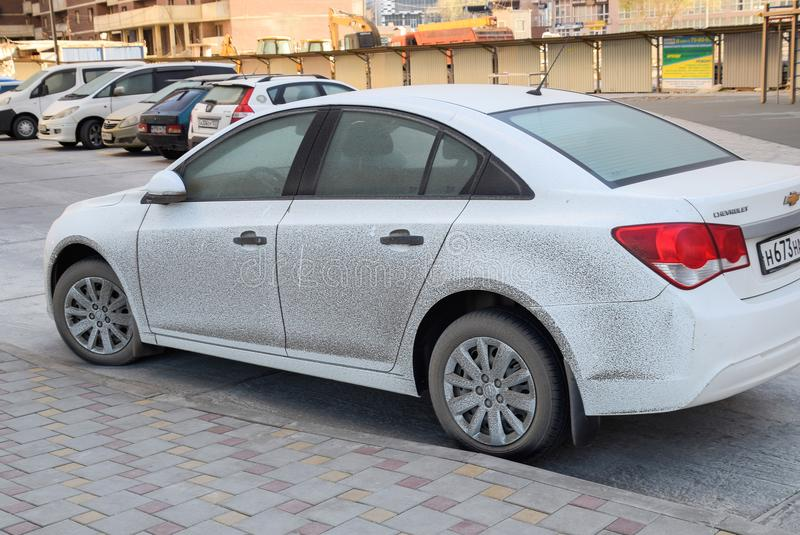 The car is splashed with sea salt and mud. stock photography