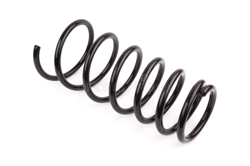 Car spring. Black car spring isolated on white background royalty free stock photo