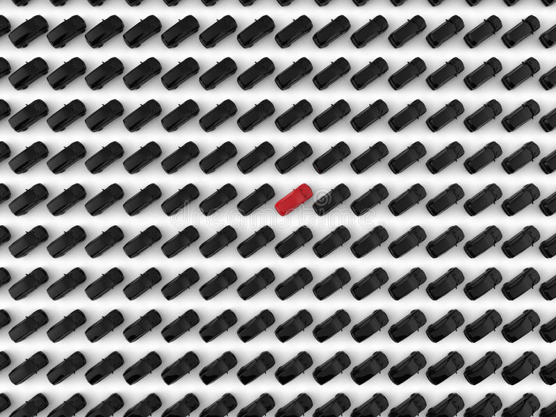 Car standing out in the crowd. 3D render illustration of the concept of standing out in the crowd. One car in the middle is colored in red indicating the stock illustration