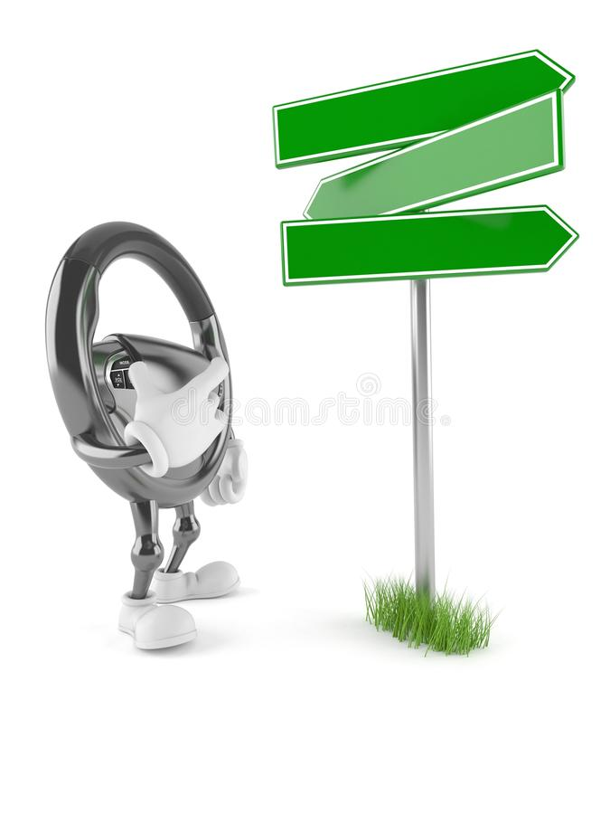 Car steering wheel character with blank signpost. Isolated on white background royalty free illustration
