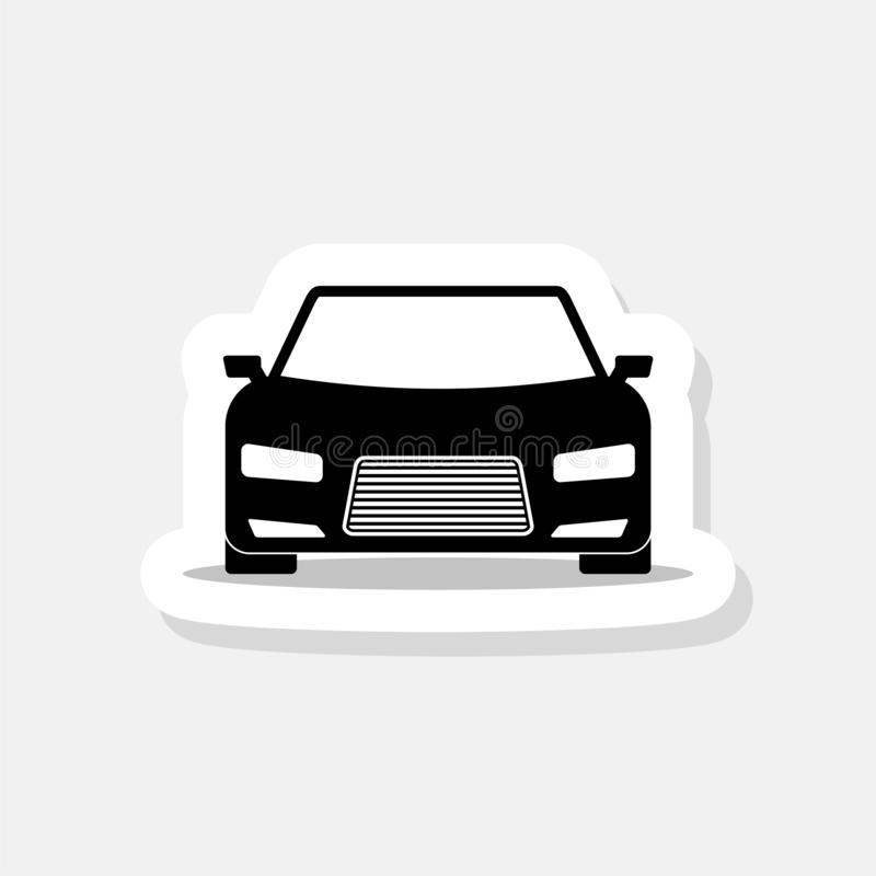 Car sticker icon. Front view. Simple black car sign with shadow royalty free illustration