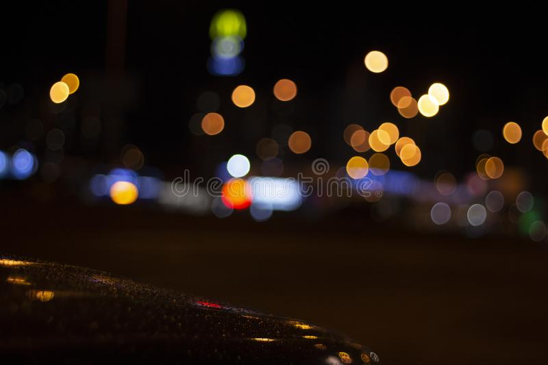 Car and street lamps, retro style background. Car and street lamps, retro style stock photo