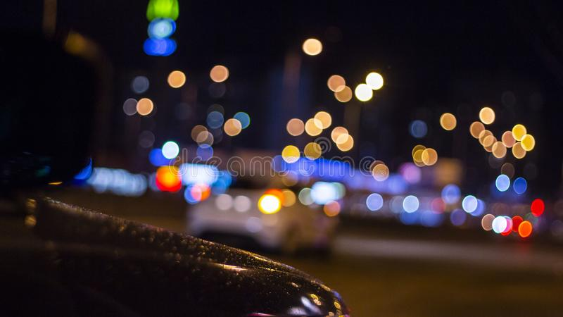 Car and street lamps, retro style background. Car and street lamps, retro style stock photography