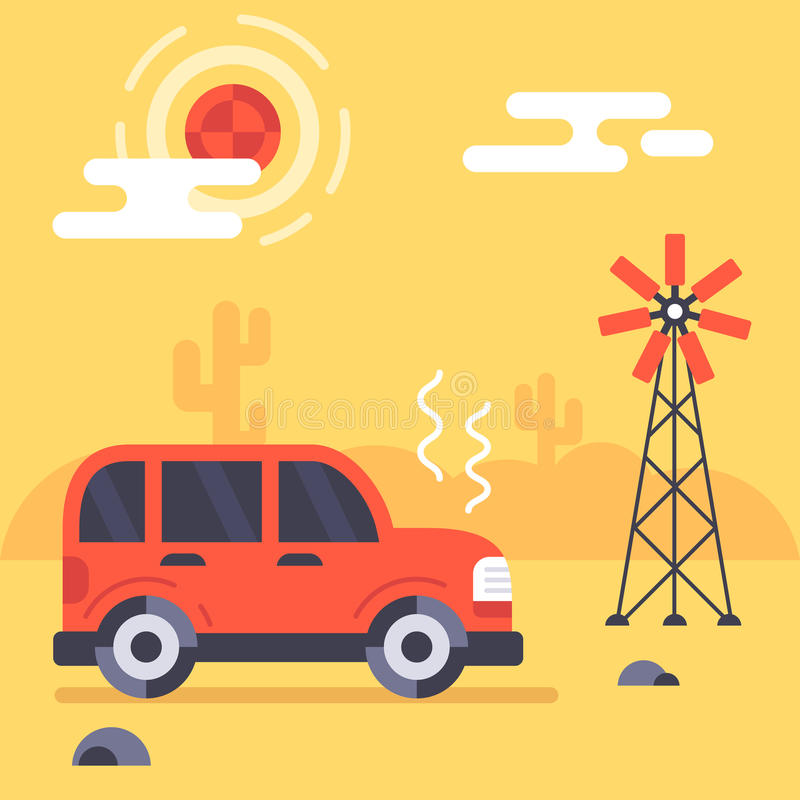 Car stuck in the mexican desert vector illustration