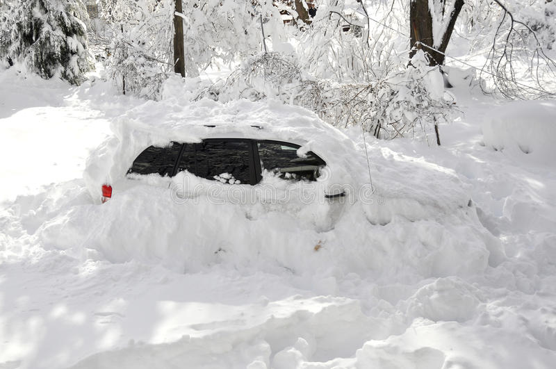 Download Car Stuck in Snow Storm stock photo. Image of seasons - 14165272
