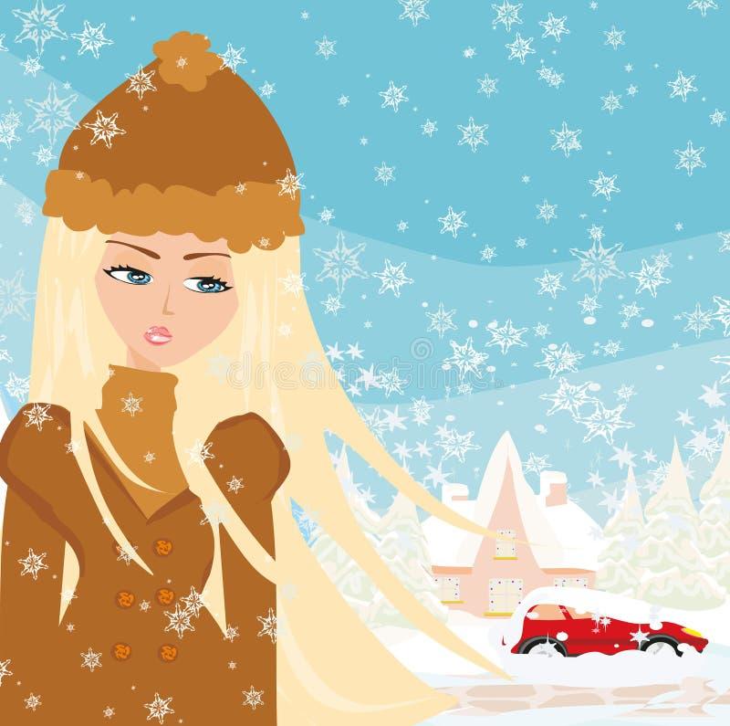 Car Stuck In The Snow. Vector Illustration royalty free illustration