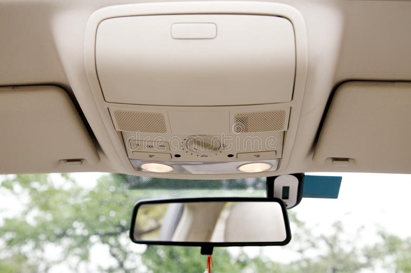 Car sunroof console royalty free stock photography